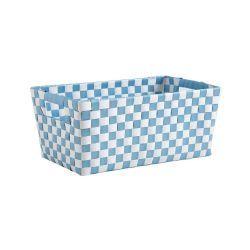 Panier de rangement damier bleu et blanc
