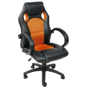fauteuil de bureau chaise si ge sport ergonomique confortable noir et orange helloshop26 0508007. Black Bedroom Furniture Sets. Home Design Ideas