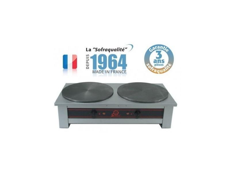 Crêpière électrique - 2 plaques - l 840 x 410 mm - sofraca -