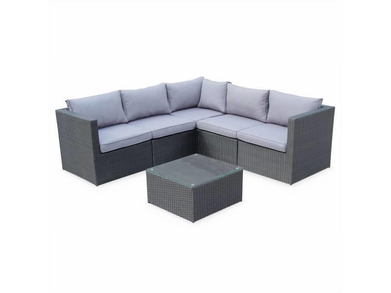 Salon de jardin résine tressée - siena - coloris noir. Coussins gris. Structure aluminium. Canapé d'angle d'extérieur.5 places