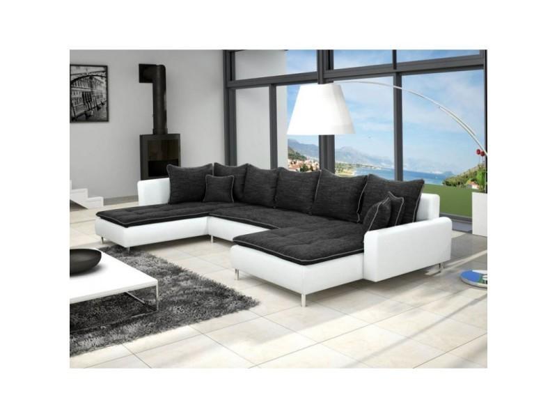 Canapé d'angle panoramique dante 6 à 7 places noir et blanc TENDENCIO