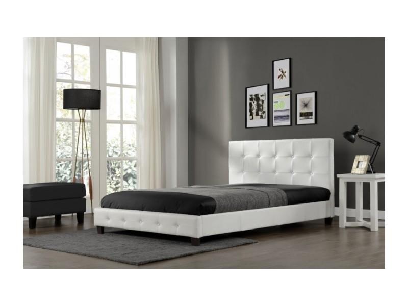 magnifique lit palace 160x200cm cadre de lit en simili cuir capitonn blanc sbrbed 002 160 wh. Black Bedroom Furniture Sets. Home Design Ideas