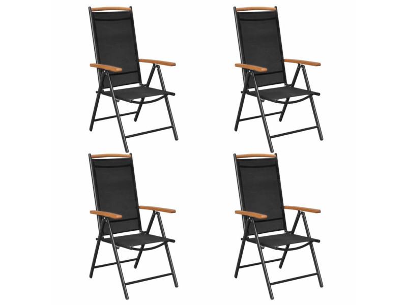 4 pcs chaises pliables de jardin aluminium et textilène noir 41733
