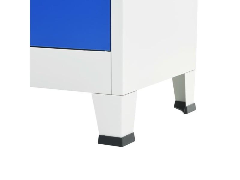 Icaverne - casiers et armoires de rangement gamme armoire de bureau métal 90 x 40 x 180 cm gris et bleu