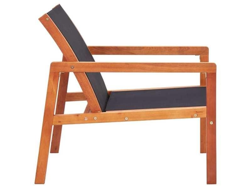 Vidaxl chaise de jardin noir bois d'eucalyptus solide et textilène 48701