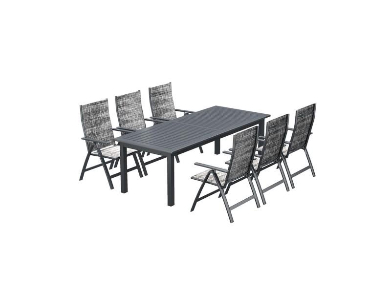 Le merry : salon de jardin table extensible et 6 chaises en ...