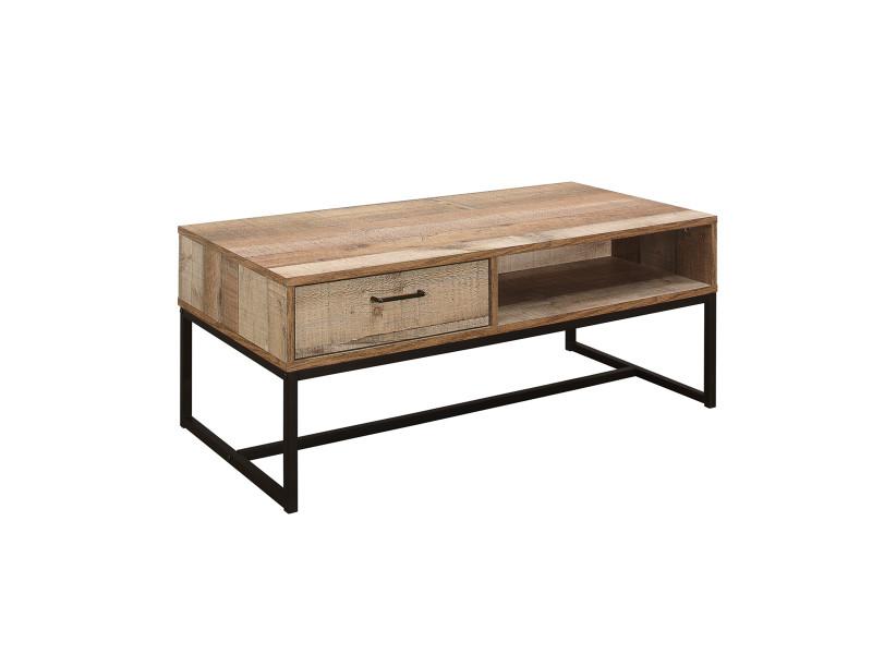 Table basse moderne 1 tiroir style industriel - brooklyn
