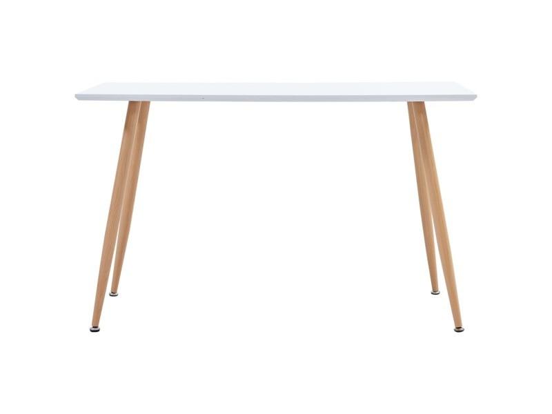 Vidaxl table de salle à manger blanc et chêne 120x60x74 cm mdf 248304