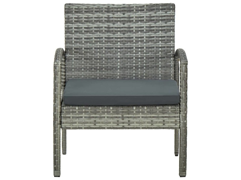 Vidaxl chaise de jardin avec coussin résine tressée gris 45796