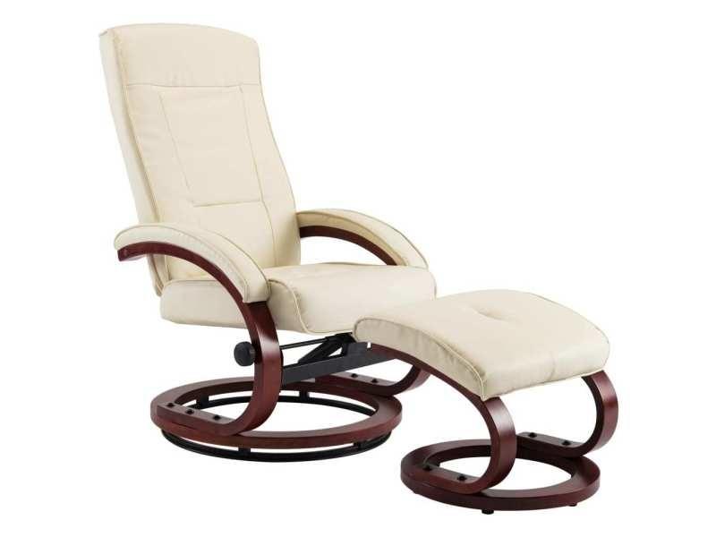 Vidaxl fauteuil inclinable avec repose pieds crème