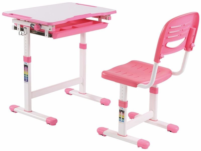Ensemble Bureau Pour Enfant Reglable En Hauteur Avec Plateau Inclinable Et Une Chaise Coloris Rose P 21701 Co C Rocher