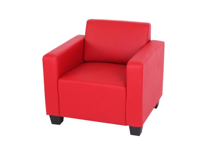 Fauteuil salon /club / lounge lyon, simili-cuir, rouge