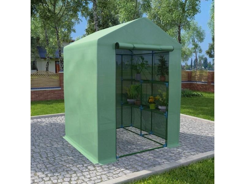 Moderne jardinage gamme asuncion serre avec étagères acier 143x143x195 cm