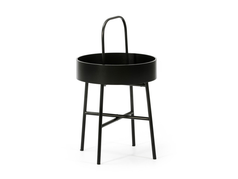 Table auxiliaire table basse ronde Jaipur avec plateau en mdf noir et structure métallique en couleur noir mat/diamètre: 40 cm