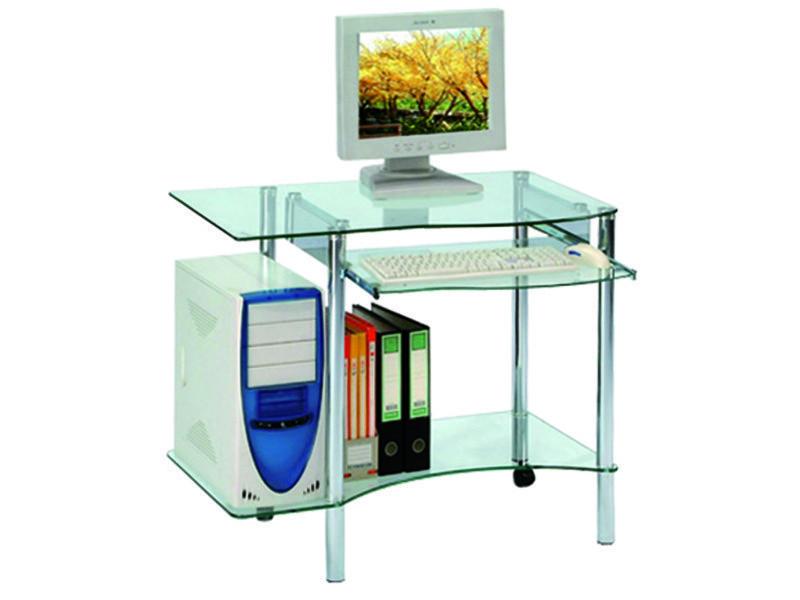Bureau informatique en verre avec tablette coulissante h740 x l890