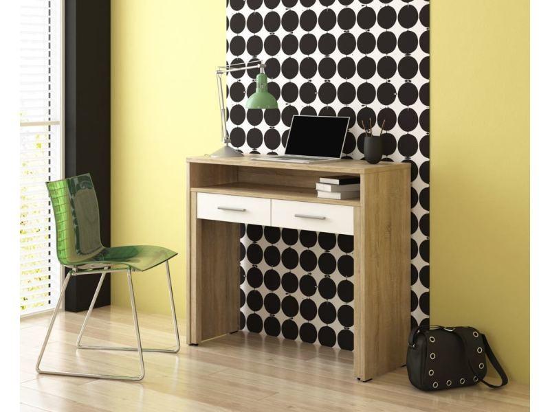 Bureau extensible blanc+chêne clair brossé. 2 tiroirs table pour ordinateur