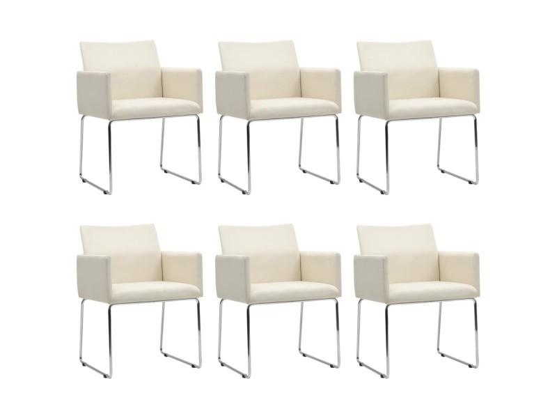 Vidaxl chaises de salle à manger 6 pcs aspect de lin blanc