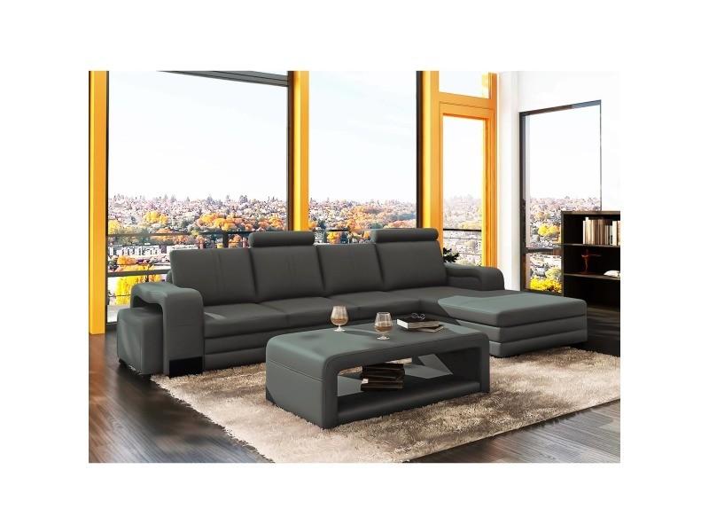 Canapé d'angle droit méridienne gris design en cuir havane
