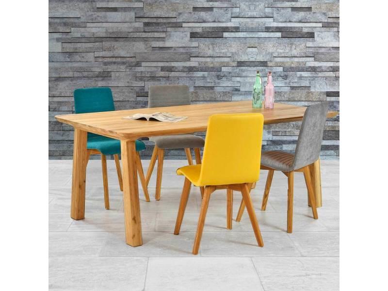 Table à manger scandinave en bois massif de chêne naty - couleur marron