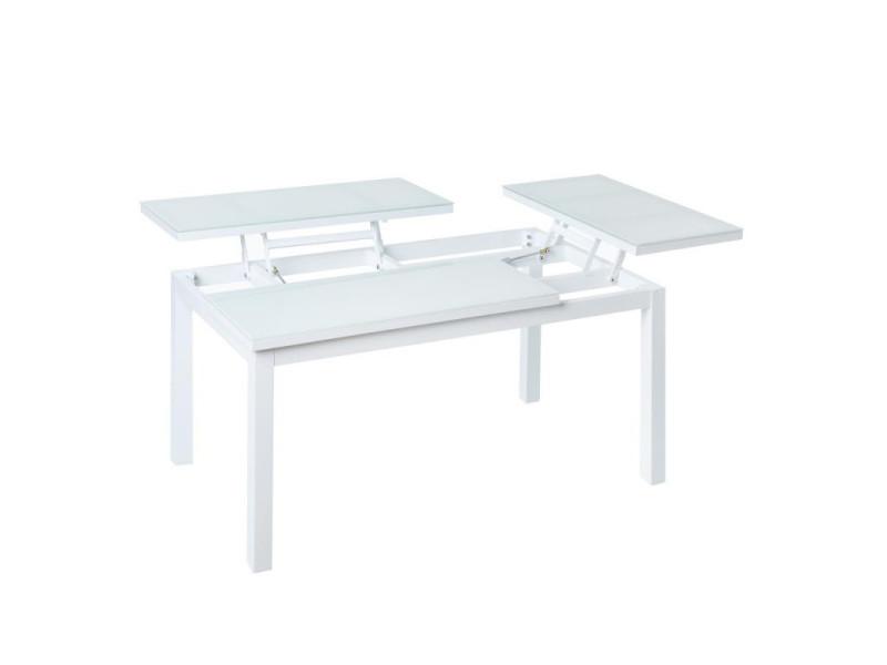 Table basse relevable d'extérieur aluminium/verre blanc - atiheu - l 100 x l 60 x h 49 - neuf