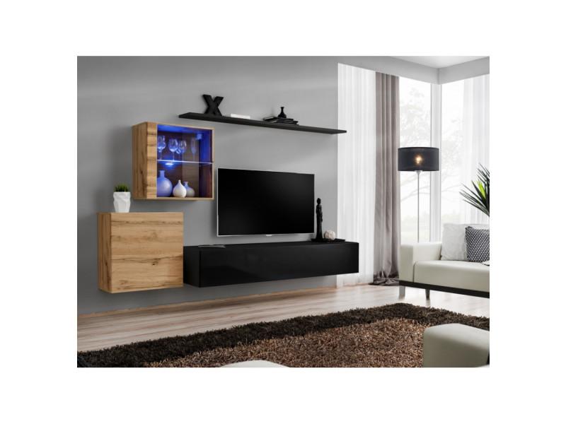 Ensemble mural - switch xv - 2 vitrines - 1 banc tv - 2 étagères - bois et noir - modèle 1