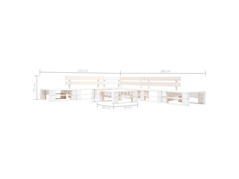 Vidaxl salon de jardin palette 6 pcs bois blanc 277395