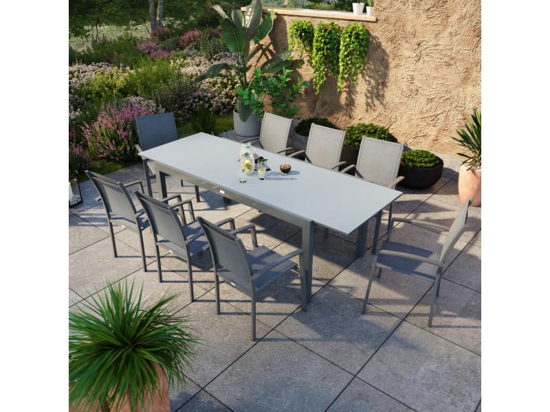Table de jardin extensible aluminium anthracite 180/240cm + 8 fauteuils empilables textilène - ania