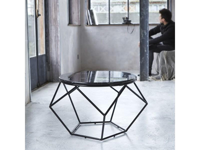 Table basse ronde en marbre et m tal conforama - Table marbre conforama ...