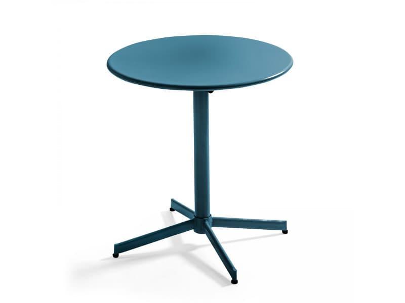 Table de jardin plateau ronde rabattable en métal palavas 4 places acier bleu