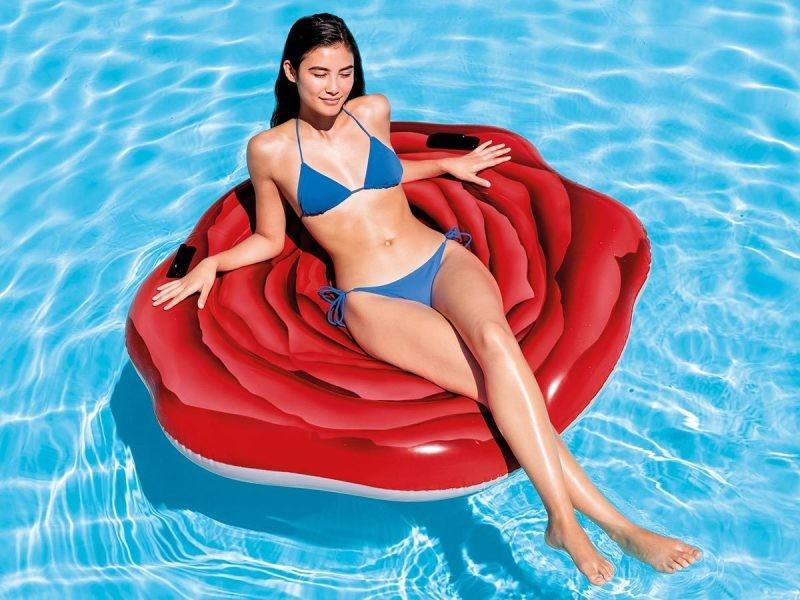 Matelas de piscine rose rouge - intex