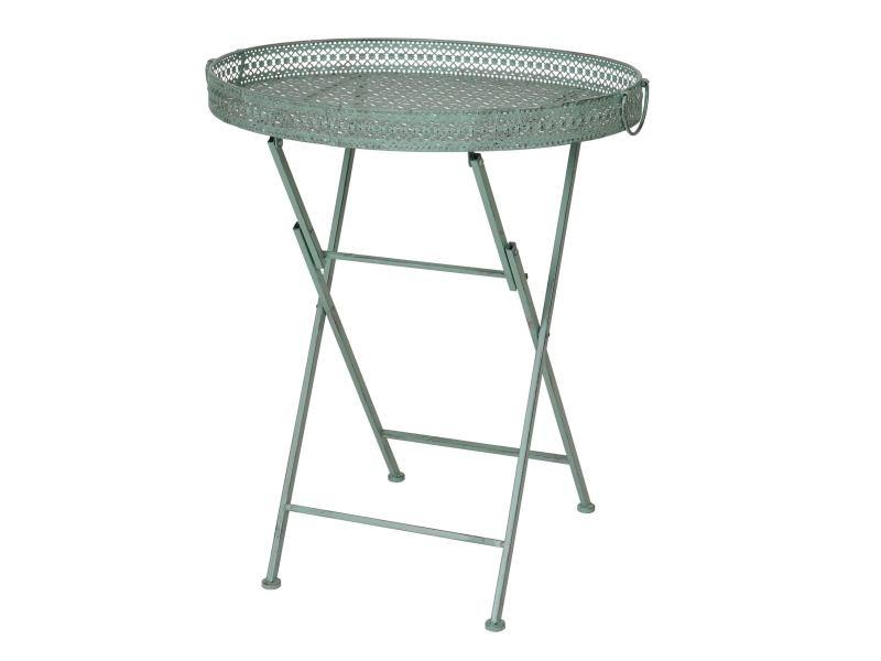 Table pliante hwc-c39, table de jardin, métal, vert antique