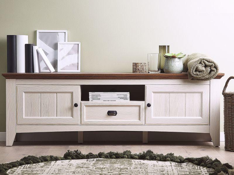 Meuble tv blanc et bois de chêne nashville 174290