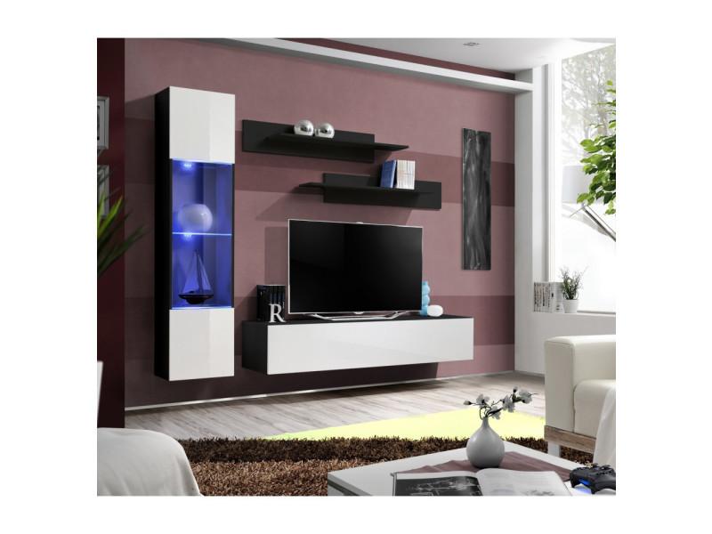 Ensemble meuble tv mural - fly iii - 210 cm x 190 cm x 40 cm - noir et blanc