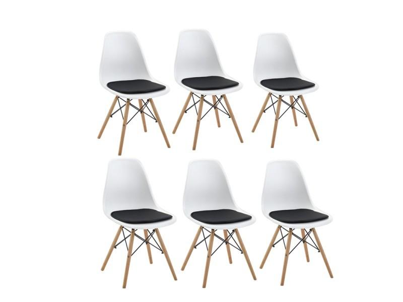 Lot de 6 blanc chaise scandinave design+6 coussins pour chaises,noir