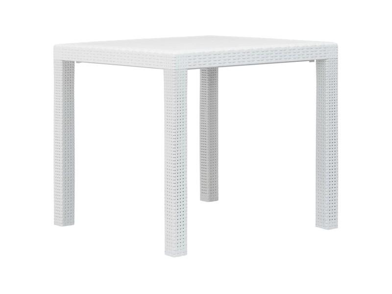 Superbe mobilier de jardin serie andorre-la-vieille table de jardin blanc 79x79x72 cm plastique aspect de rotin