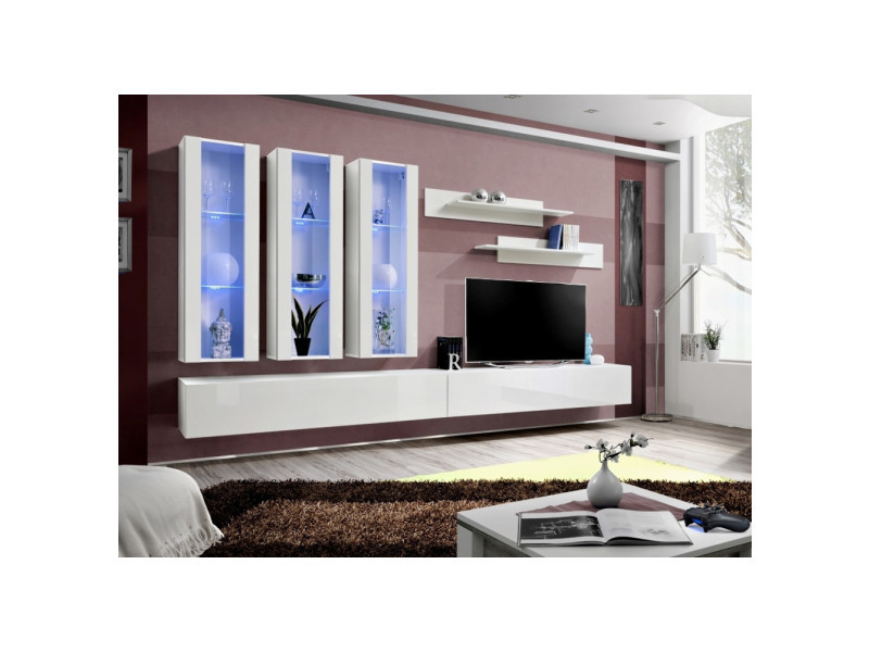 Ensemble meuble tv mural - fly iii - 320 cm x 190 cm x 40 cm - blanc