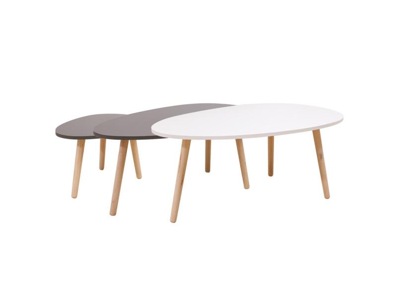 Lot de 3 tables de basses gigognes hombuy - style scandinave
