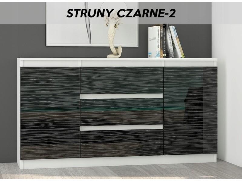 Albi w2 | commode contemporaine 3 tiroirs | 140x40x76 cm | meuble rangement chambre/salon/bureau | buffet finition laquée | blanc/noir