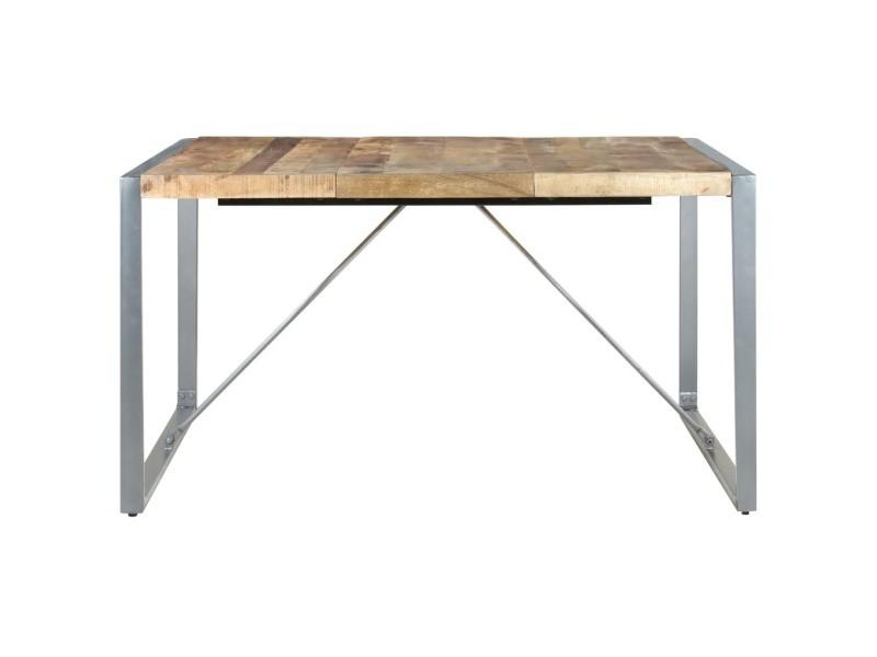 Vidaxl table de salle à manger 140x140x75 cm bois de manguier brut 321575
