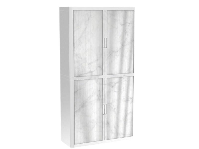 Armoire de bureau métalique porte coulissante h 2m - marbre blanc
