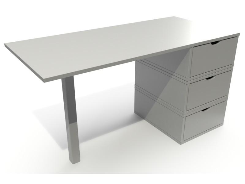 Bureau bois 3 tiroirs cube gris BUR3T-G