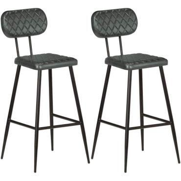 Lot de deux chaises de bar cuir véritable gris helloshop26