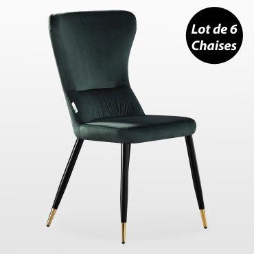 Charly lot de 6 chaises rétro en velours vert émeraude avec