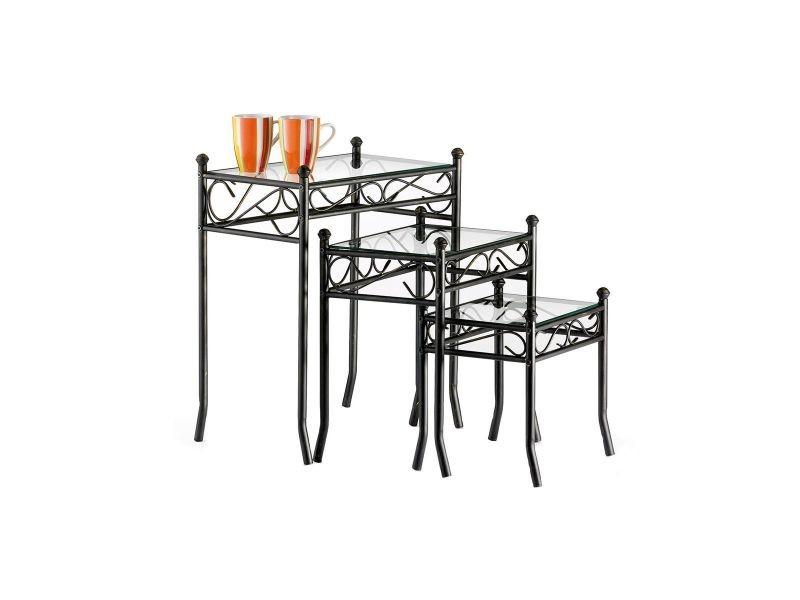 Tables d'appoint en verre et acier florence