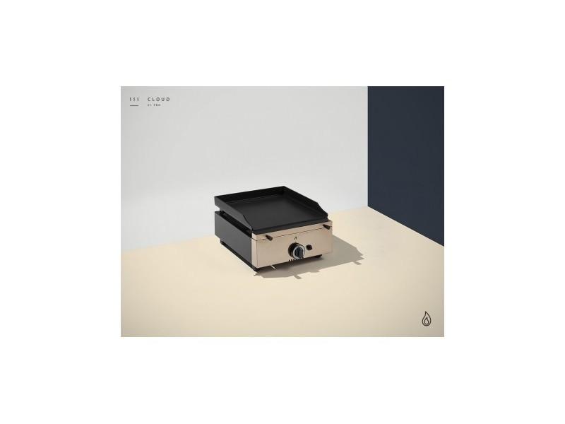 Plancha a gaz colorée - 1 brûleur - plaque lisse 10 mm - 400 x 455 x 230 mm - pinha2 - anthracite acier émaillé