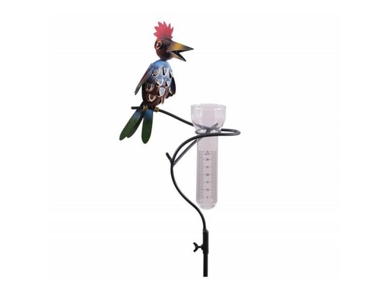 Superbe pluviomètre à piquer tuteur plante décoration de jardin motif oiseau en fer patiné et tube en verre 12x25x146cm