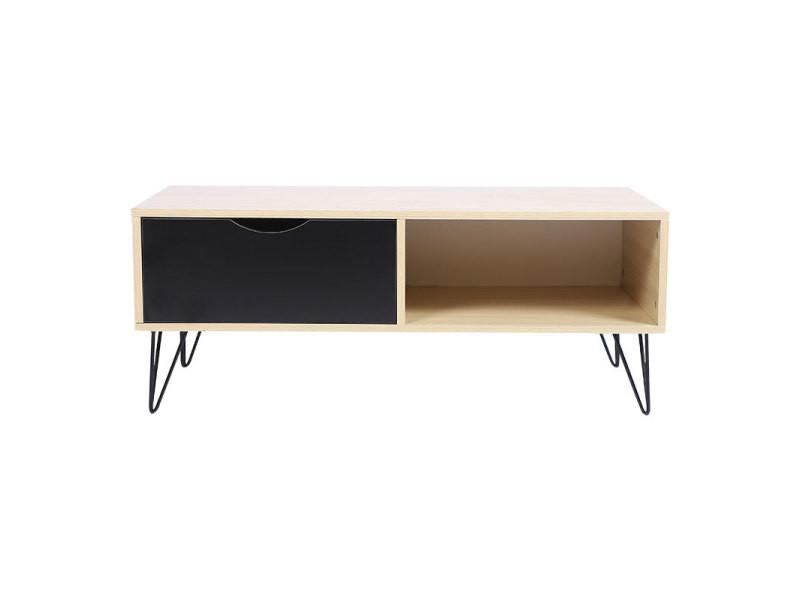 Table basse pied hombuy en fer avec un tiroir et une étagère couleur bois et noir