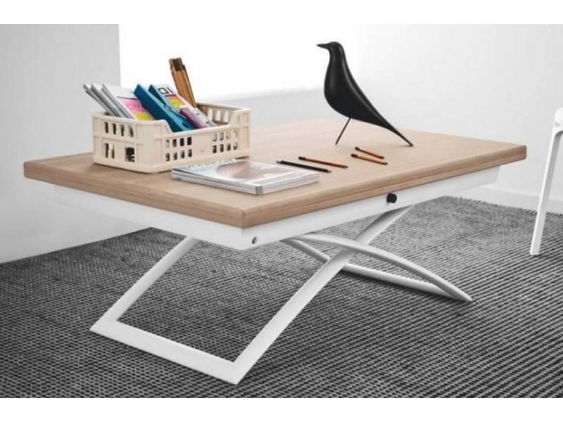 Table basse relevable extensible italienne magic j en bois naturel et piétement en acier laqué blanc 20100838271