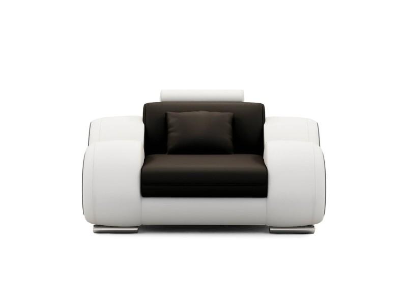 Dydda - fauteuil relax en cuir noir et blanc