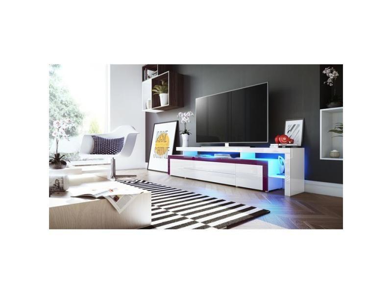 Meuble tv blanc / mûre laqué 227 cm avec led